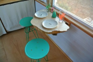 Boulder tiny house table