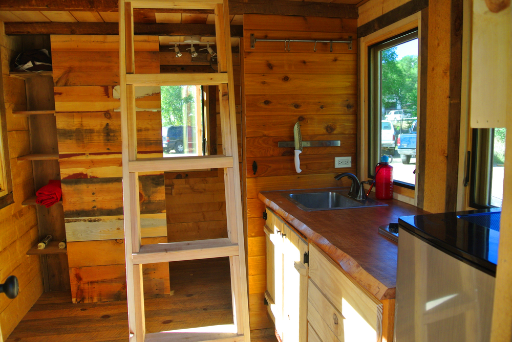 log cabin tiny house kitchen