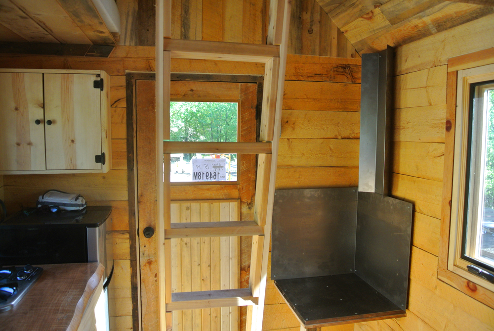 log cabin tiny house interior