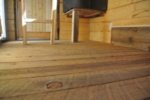 Tiny house rough cut tongue and groove floor