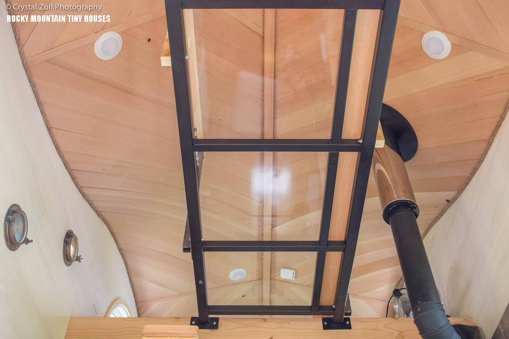 Pequod tiny house curved ceiling catwalk