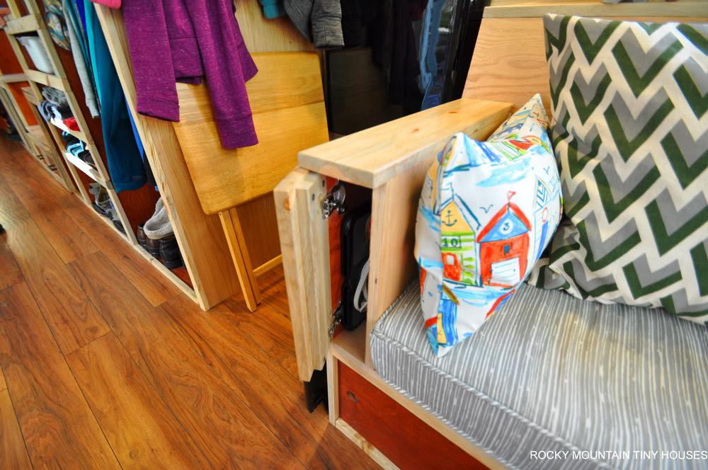 Harmony Haven Tiny House couch storage