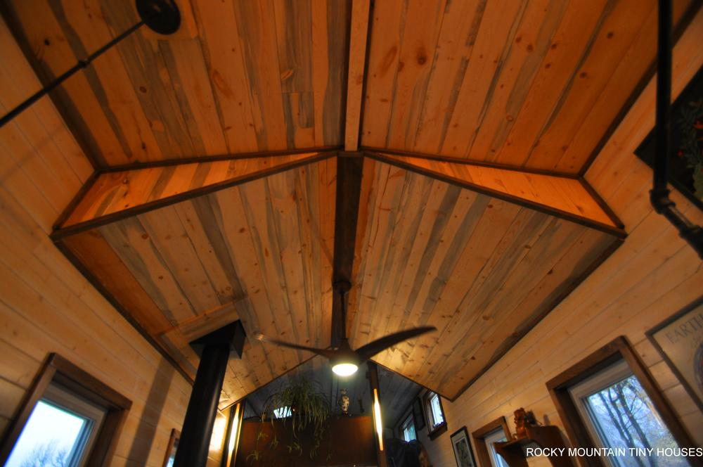Red Mountain 34' Tiny House beetle kill ceiling