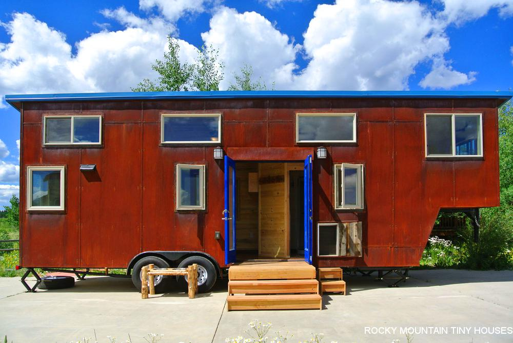 Rusty Mountain Roost gooseneck tiny house exterior