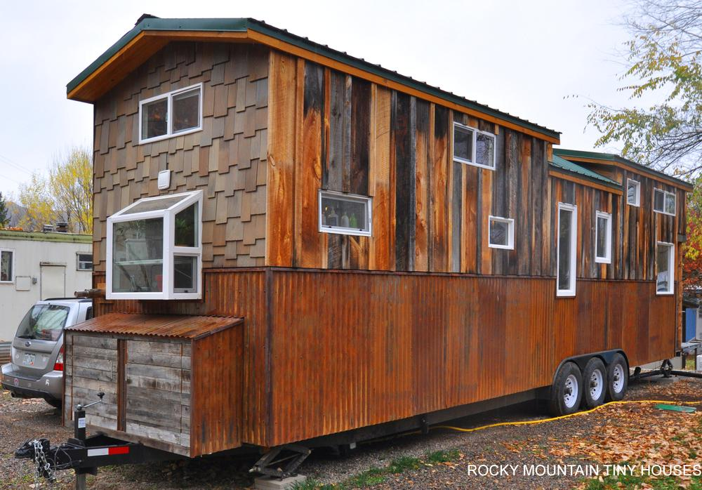 Red Mountain 34' Tiny House rustic siding