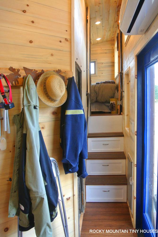 Rusty Mountain Roost gooseneck tiny house hallway