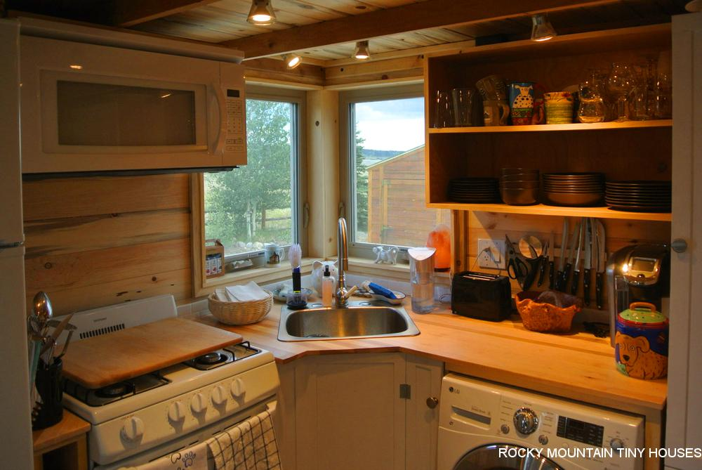 Rusty Mountain Roost gooseneck tiny house kitchen
